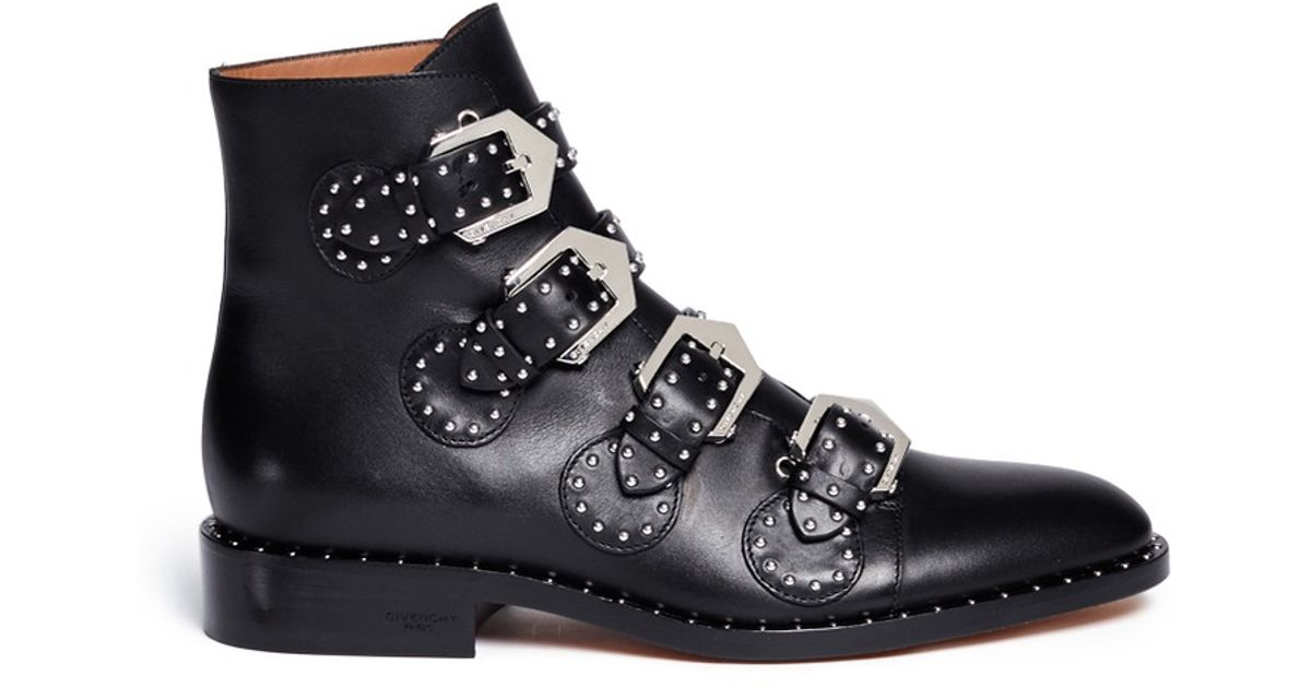givenchy studded leather ankle boots in black lyst