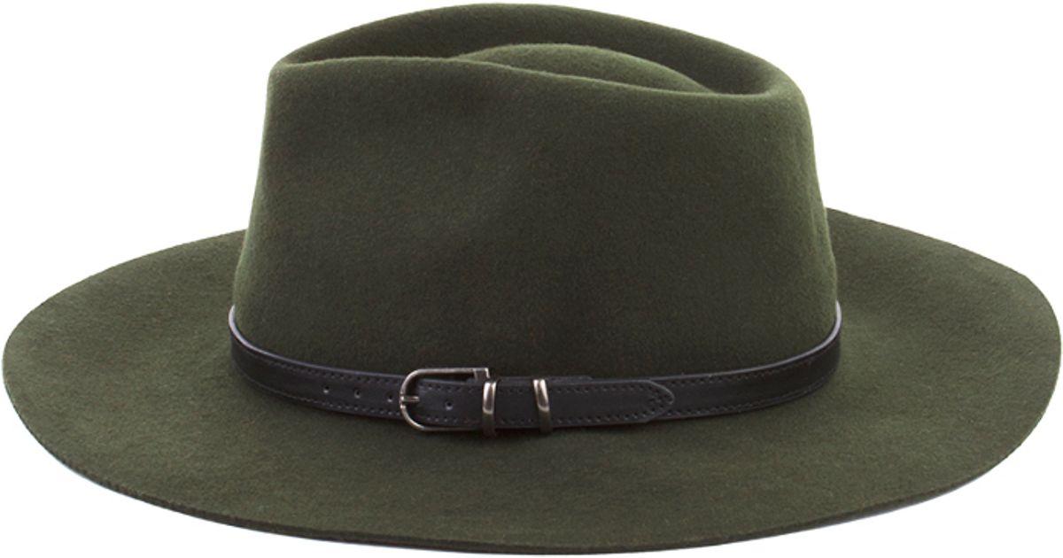 3c2d3313f AKIRA Green Wide Brim Wool Felt Panama Hat - Olive