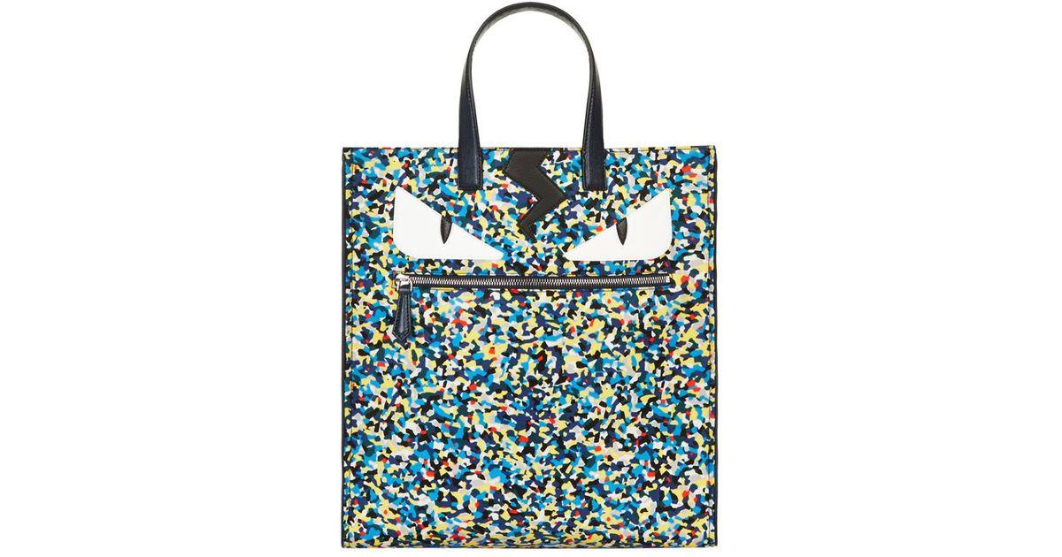 cb06fe44fcef Fendi Monster Eyes Confetti-print Nylon Tote Bag for Men - Lyst
