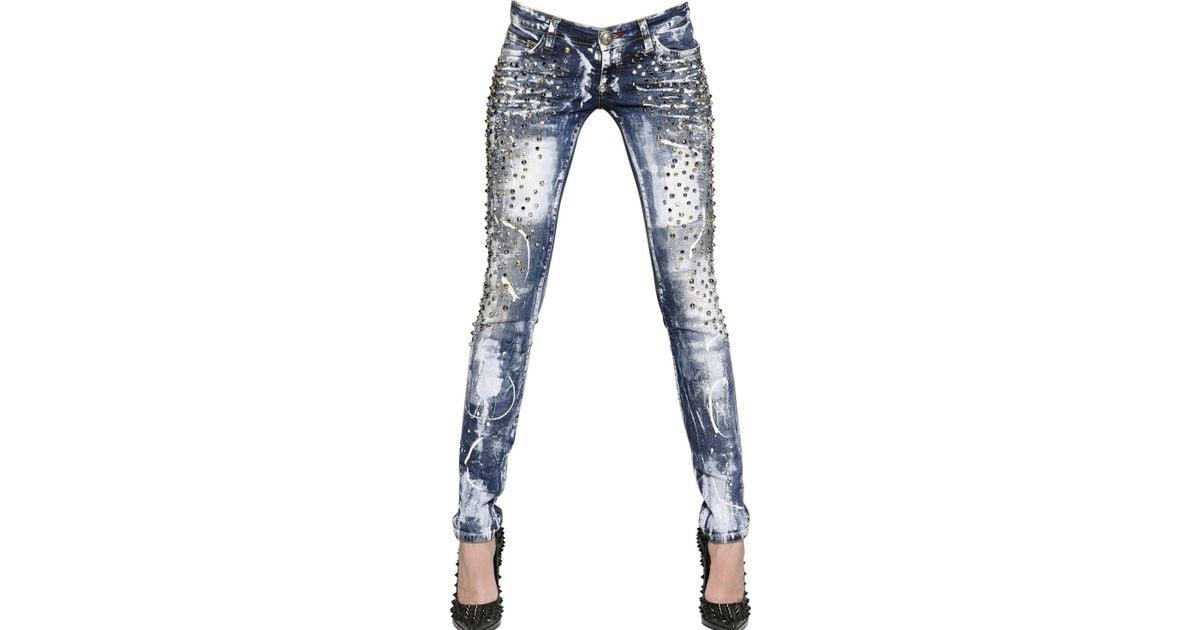 ff8adaa51e2 Philipp Plein Studded Stretch Cotton Denim Jeans in Blue - Lyst
