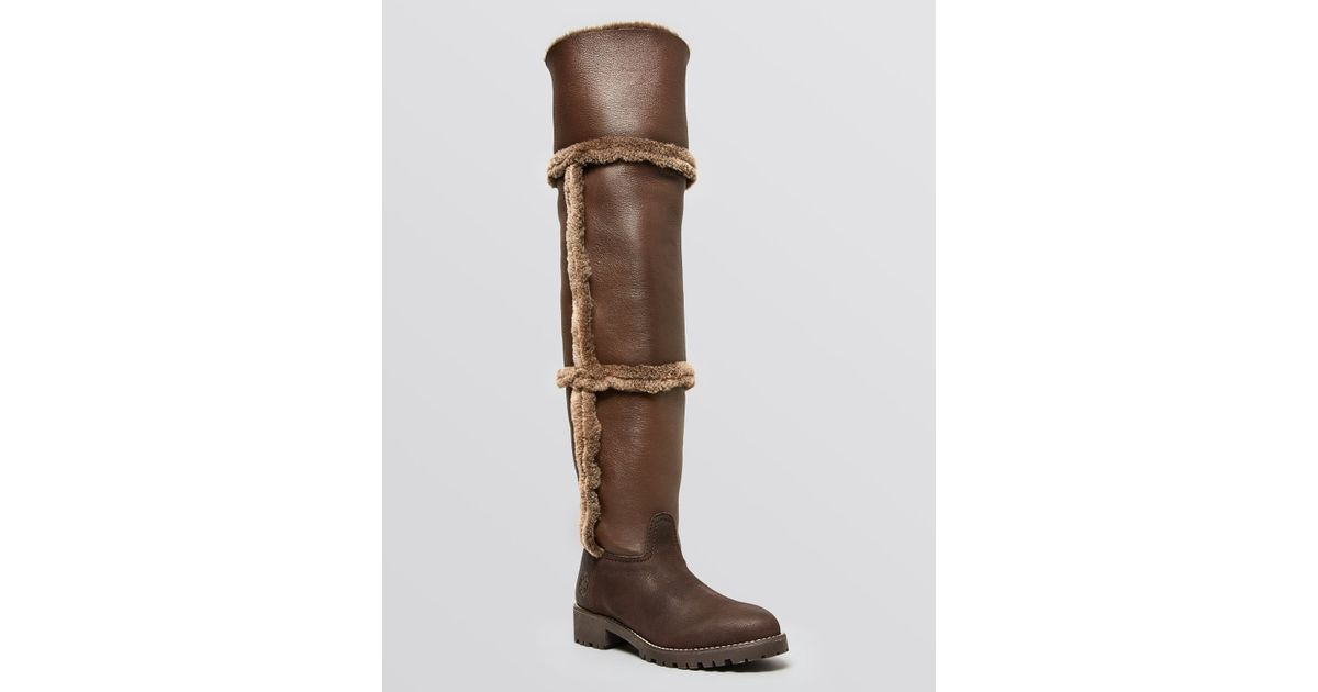 45ff446e5 Lyst - Tory Burch Over The Knee Shearling Boots - Talouse Shearling in Brown