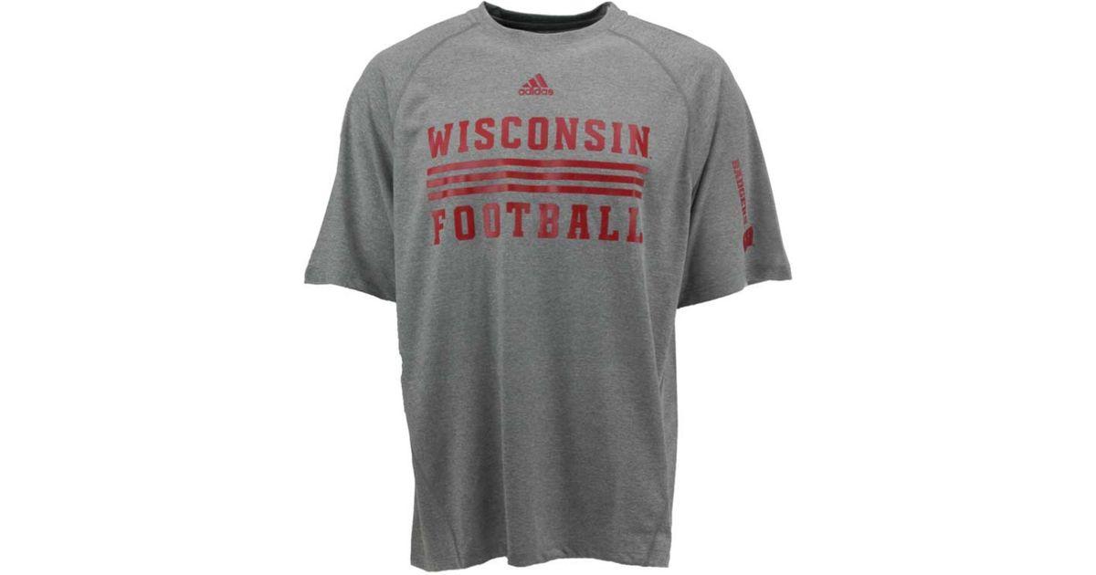 4876ce809c1e0 Adidas Originals Gray Men's Wisconsin Badgers Sideline Evade Climalite  T-shirt for men