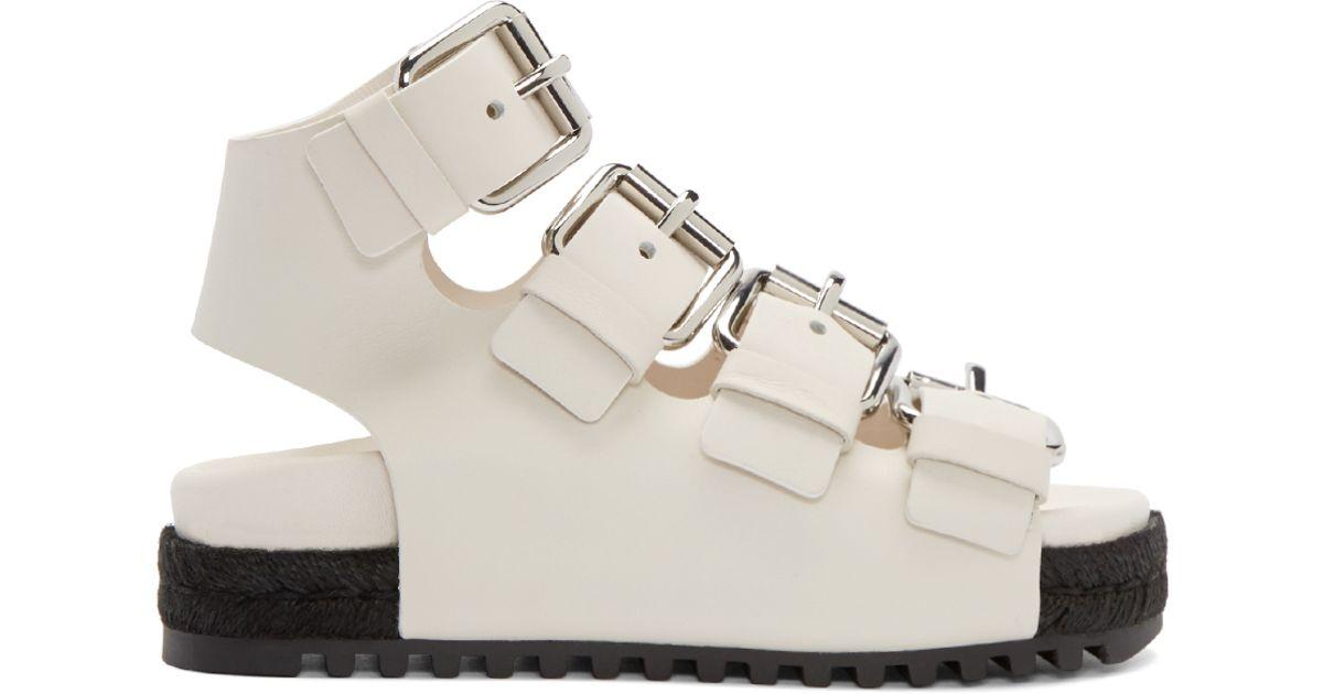 Alexander Wang Sandals Leather Idina White Ivory ARj5L4