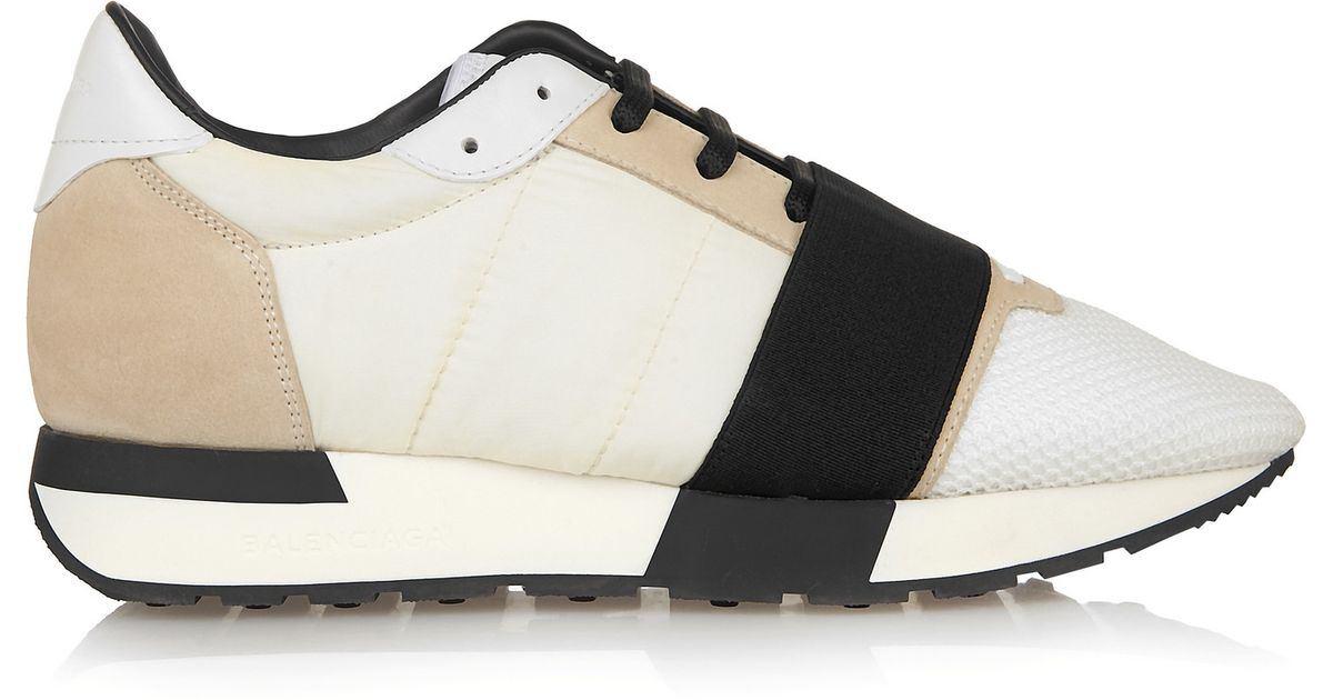 1c709ec4bc Balenciaga White Race Runner Mesh, Leather And Shell Sneakers