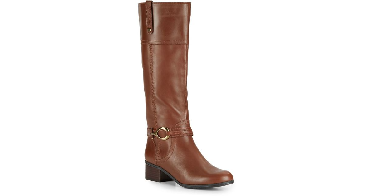 bandolino carlyle leather boots in brown lyst
