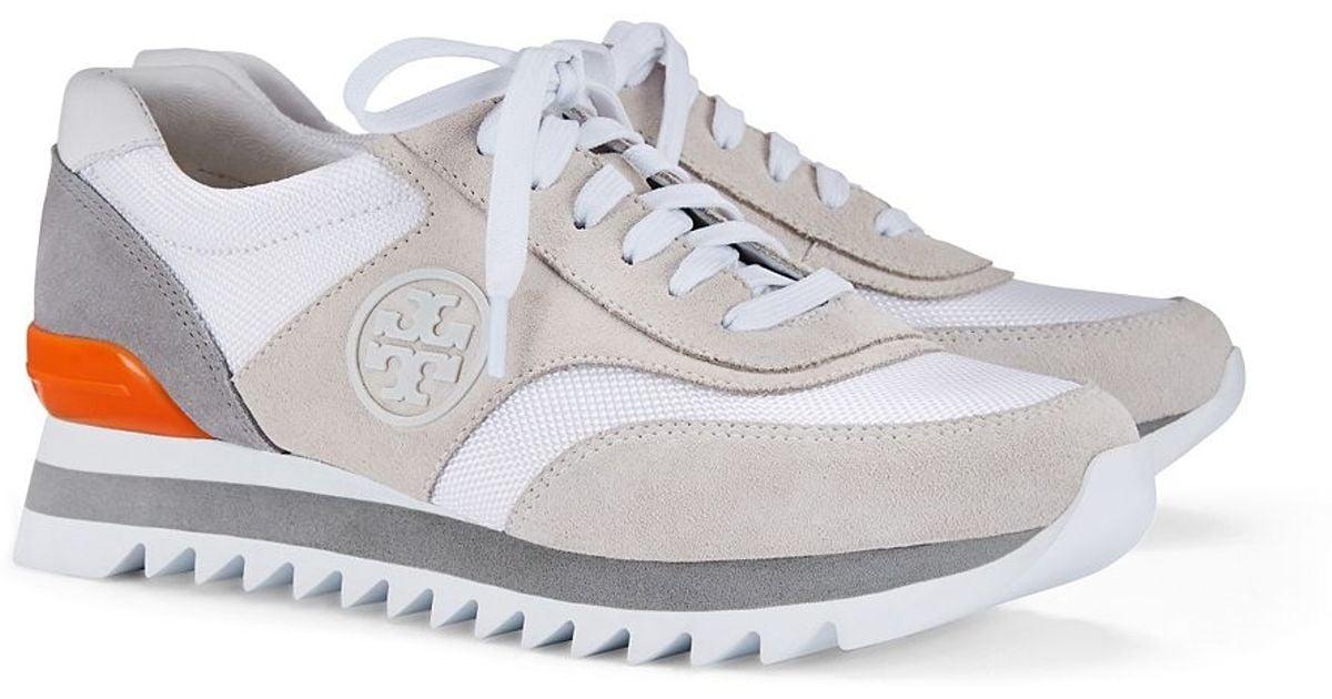 f390a538a Lyst - Tory Burch Logo Sawtooth Sneaker in Gray