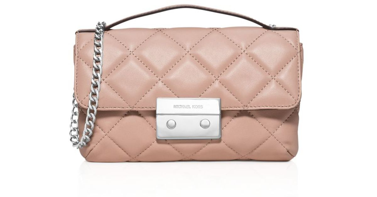 ce512d7f6f77f Lyst - MICHAEL Michael Kors Sloan Small Quilted Crossbody in Pink