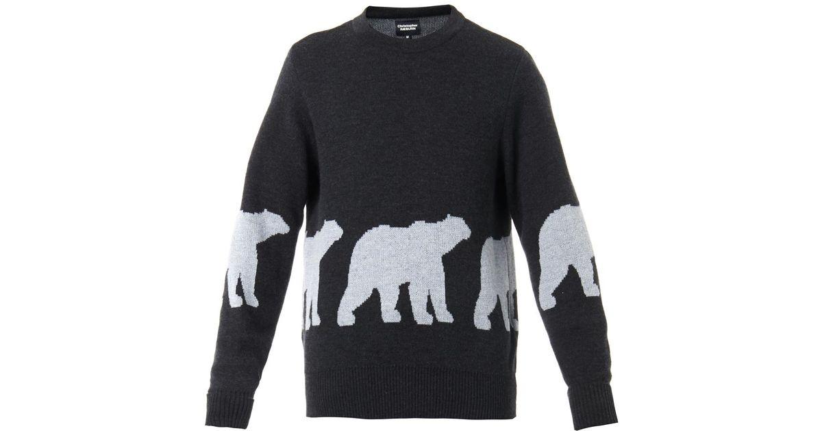 f03b595f7d7 Christopher Raeburn Gray Polar Bear Intarsia-Knit Wool Sweater for men