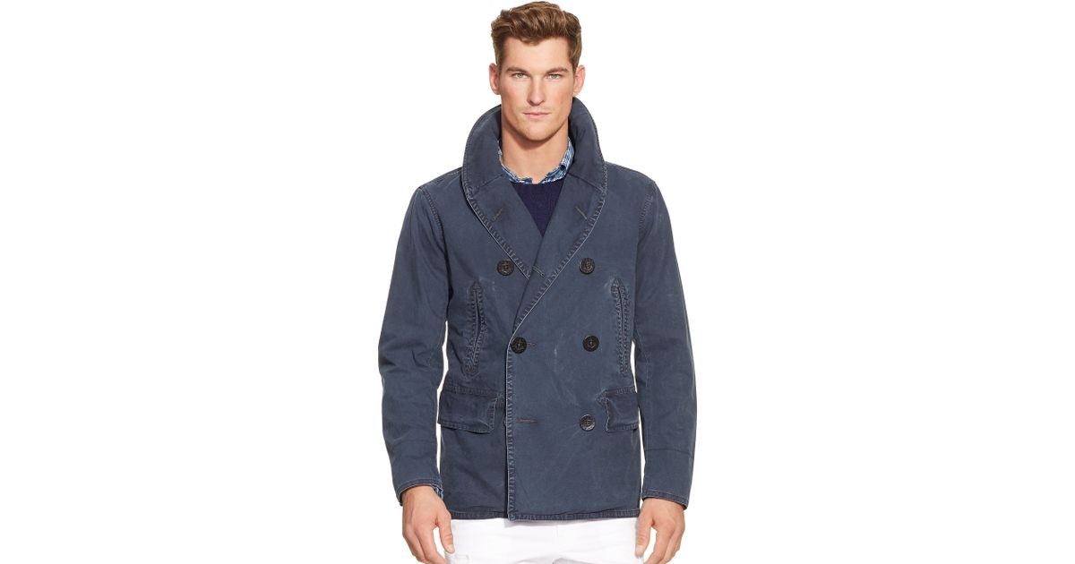 Lyst - Polo Ralph Lauren Academy Shawl-collar Pea Coat in Blue for Men df6d8b400f4f6
