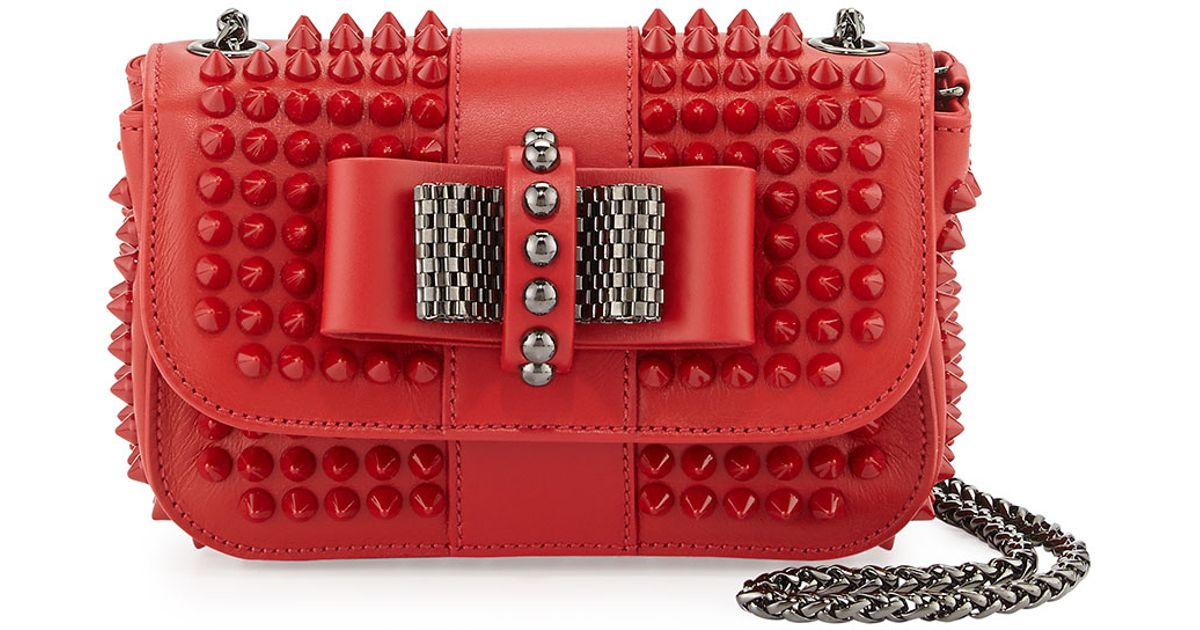 355748fd253 Christian Louboutin Red Sweet Charity Small Spiked Crossbody Bag