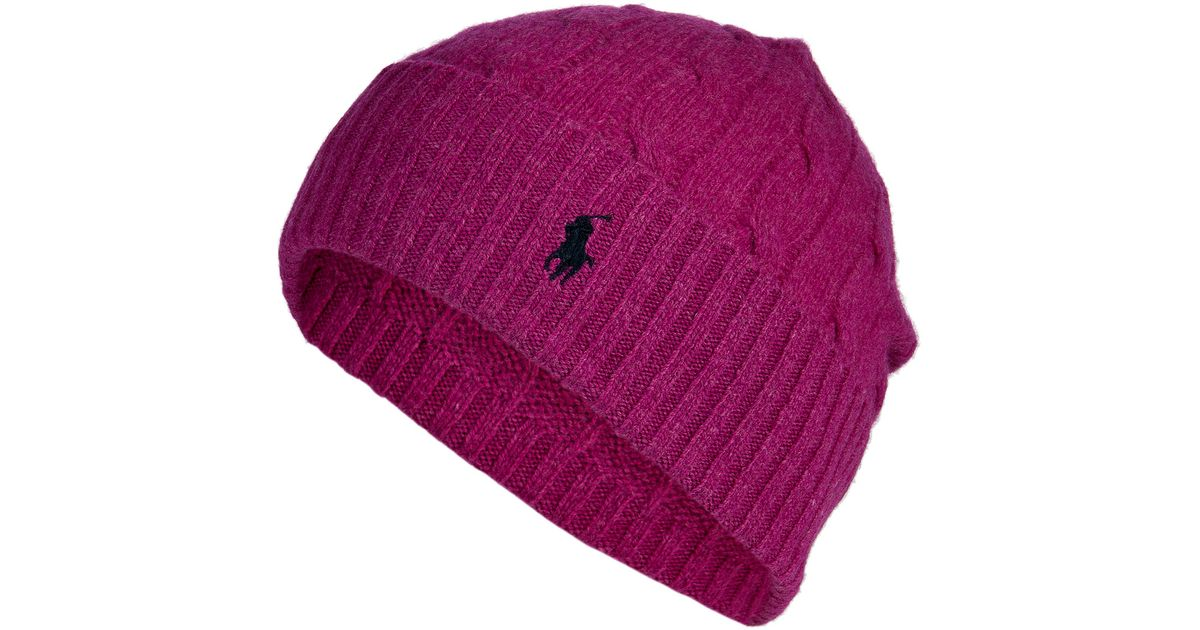 Lyst - Polo Ralph Lauren Merino Wool-Cashmere Cable Knit Hat in Purple b4be9249941