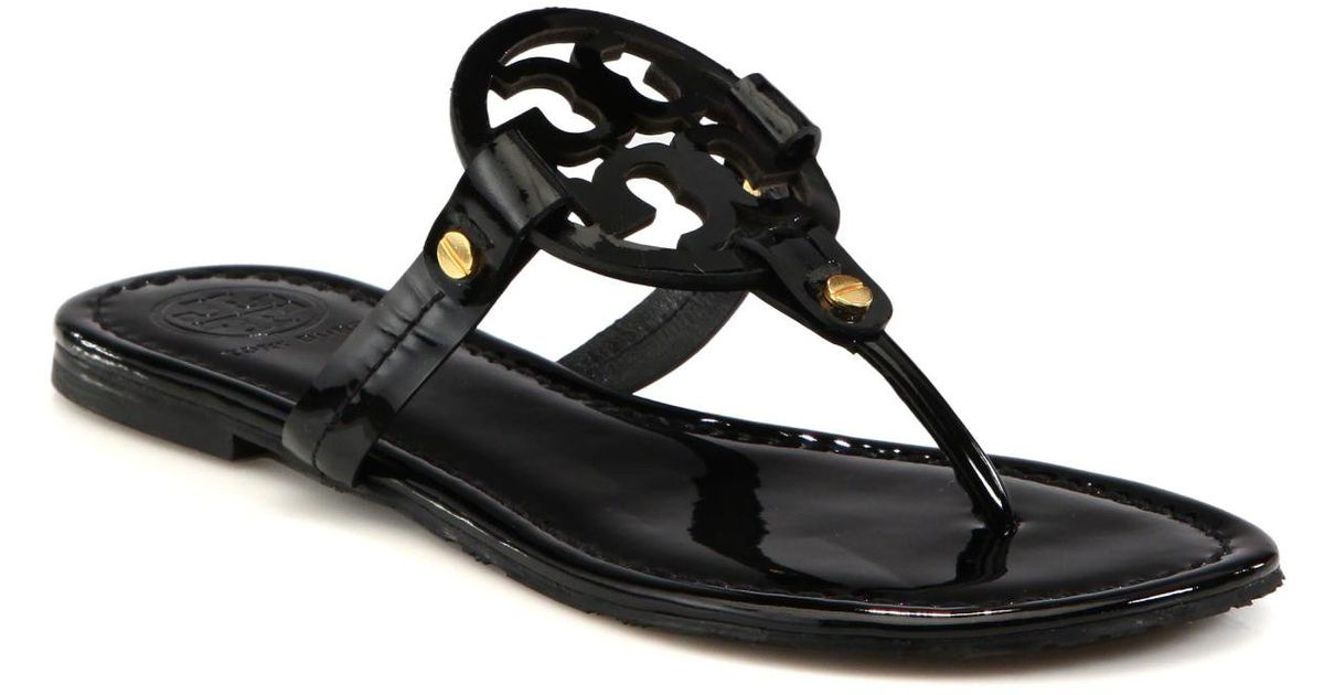 Tory Burch Miller Patent Leather Logo Thong Sandals In