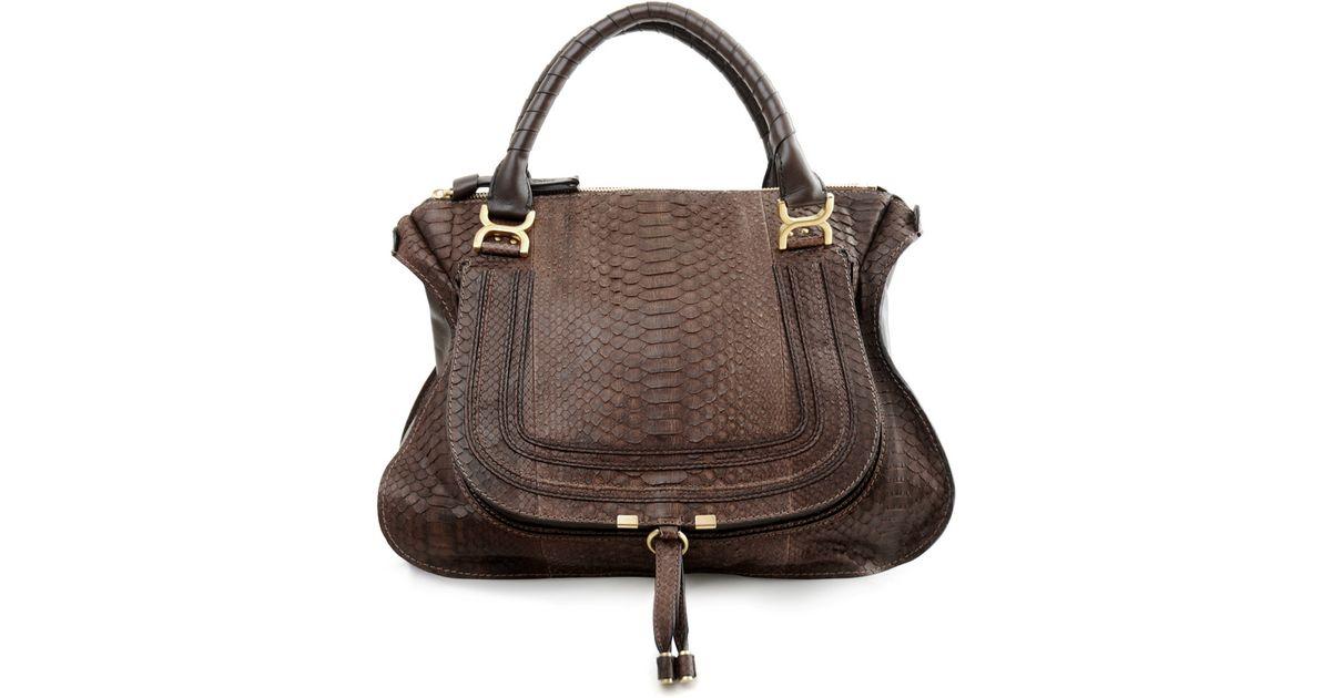 Chlo¨¦ Marcie Python Bag in Brown (mocha) | Lyst