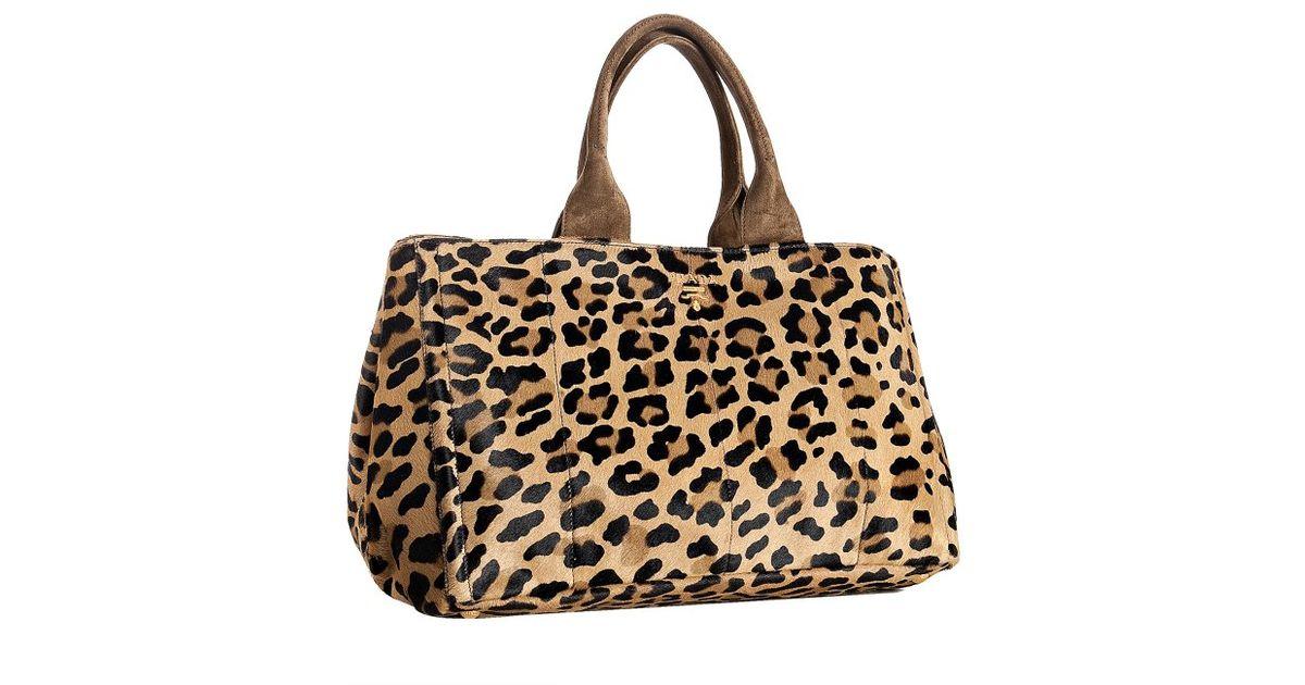 new prada purses - Prada Leopard Printed Pony Hair Medium Tote in Animal (leopard)   Lyst