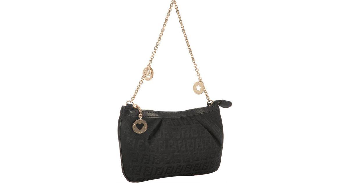 Lyst - Fendi Gold Chain Shoulder Bag in Black e1d6a10d5c998