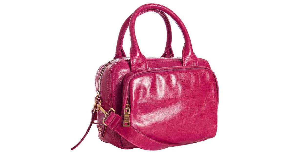 Prada Fuchsia Vitello Shine Leather Bauletto Small Zip Satchel in ...