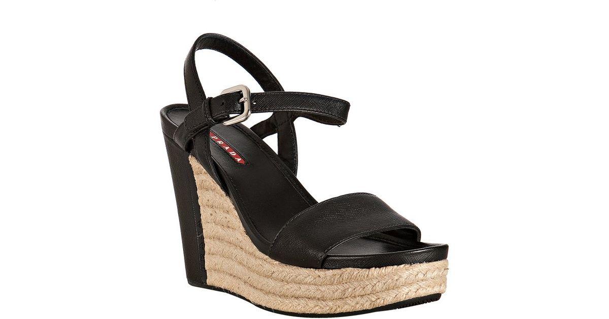 Prada Sport Saffiano Wedge Sandals for sale sale online 15t1Eh94