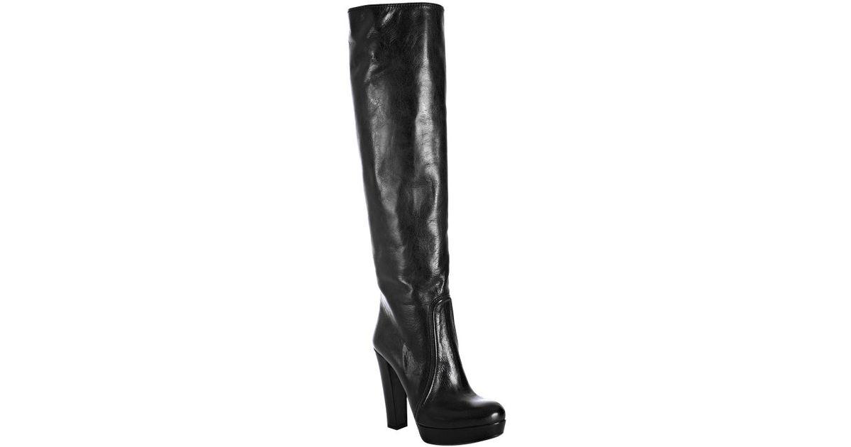 720755ac79e Lyst - Prada Black Leather Tall Platform Boots in Black