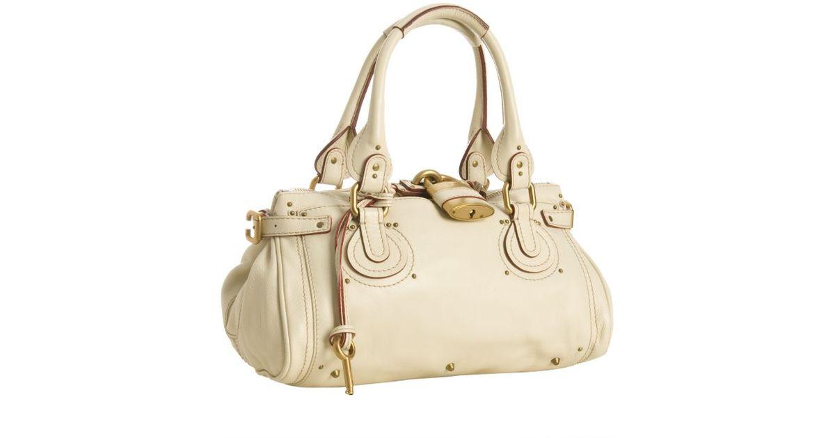 Chlo¨¦ Cream Leather Paddington Small Shoulder Bag in White (cream ...