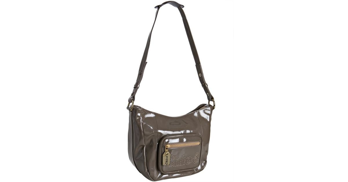 Chlo¨¦ Taupe Patent Leather Zip Pocket Crossbody Bag in Brown ...