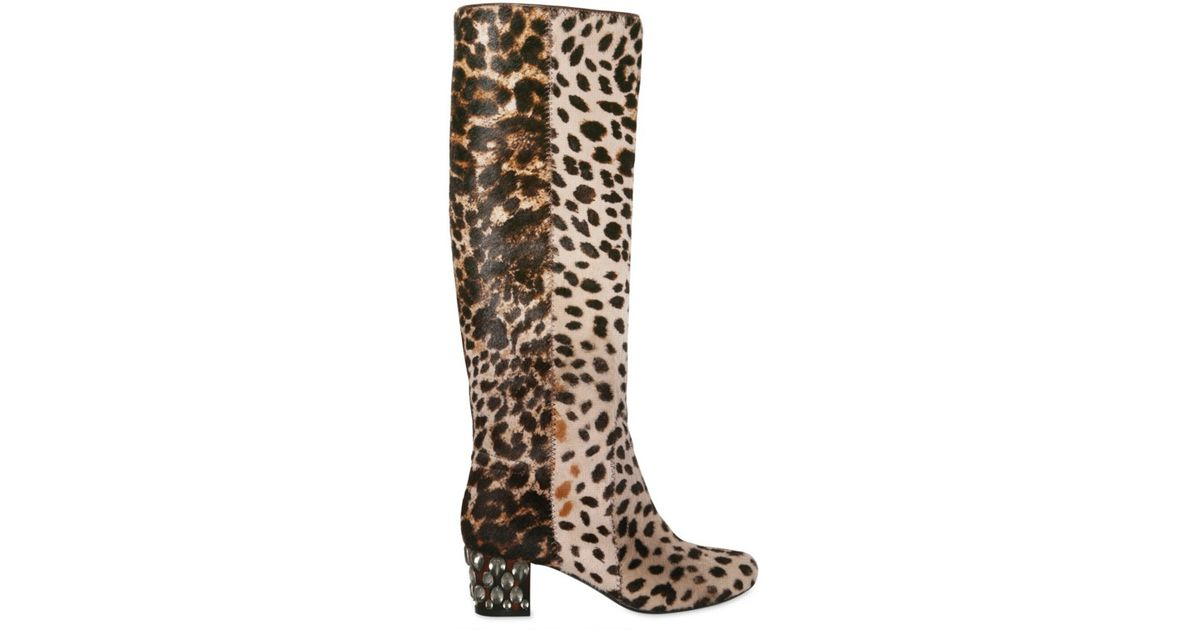 ce4bc53acca Lanvin Multicolor 55mm Leopard Print Pony Skin Boots