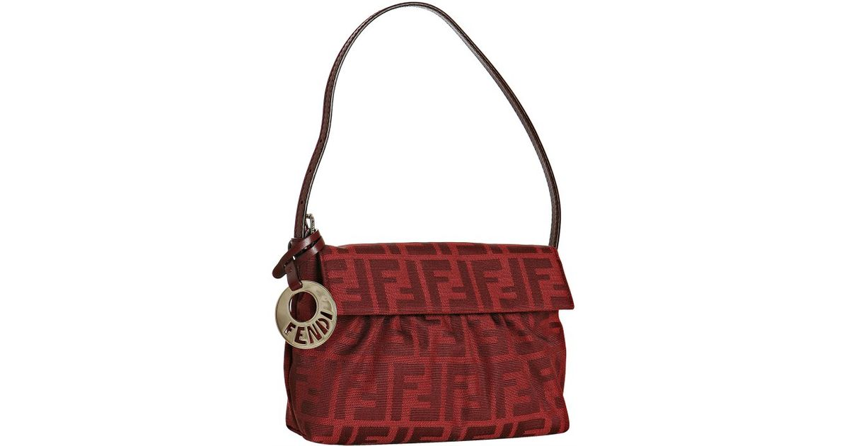 e2fe7798503 ... purchase lyst fendi red zucca canvas mini chef bag in red d180a 7c180  ...
