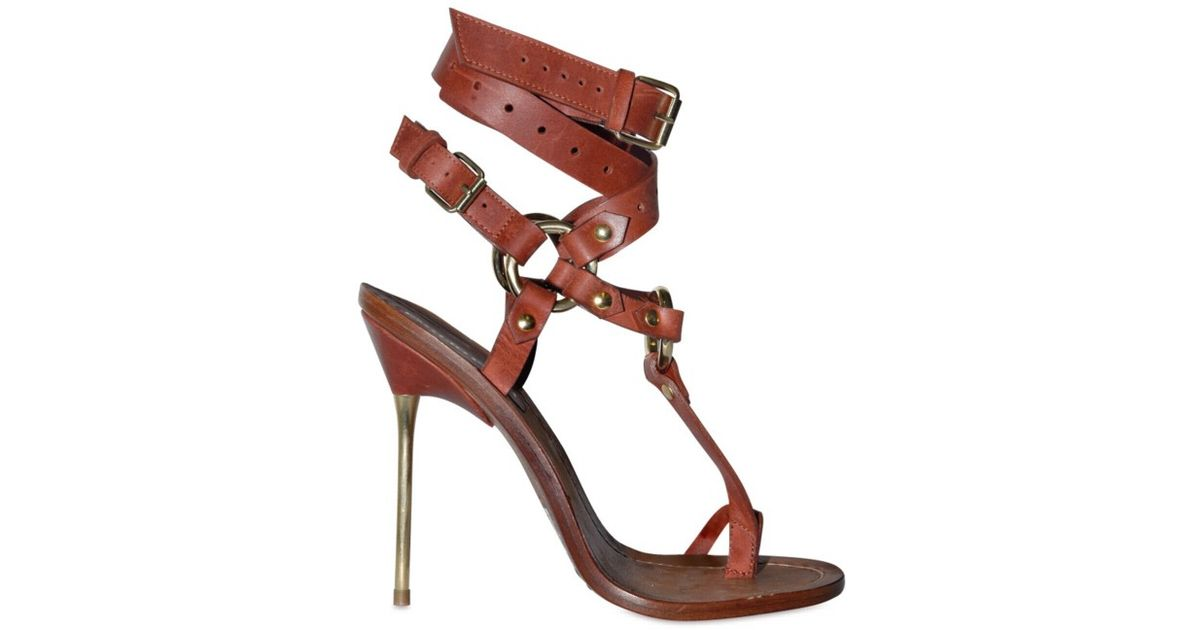 Lyst Emilio Pucci Pucci Pucci 120mm Criss Cross Ankle Thong Sandales in Braun b4754f