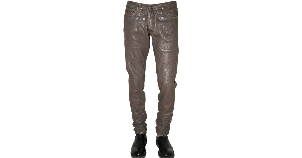 Rick owens Slim Fit Silver Denim Jeans in Brown for Men | Lyst
