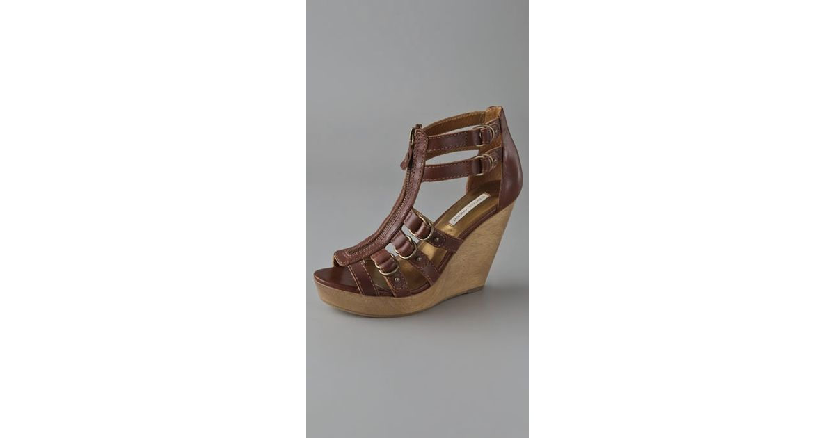 f28ff04689 Lyst - Twelfth Street Cynthia Vincent Jagger Zipper Front Buckle Wedge in  Brown