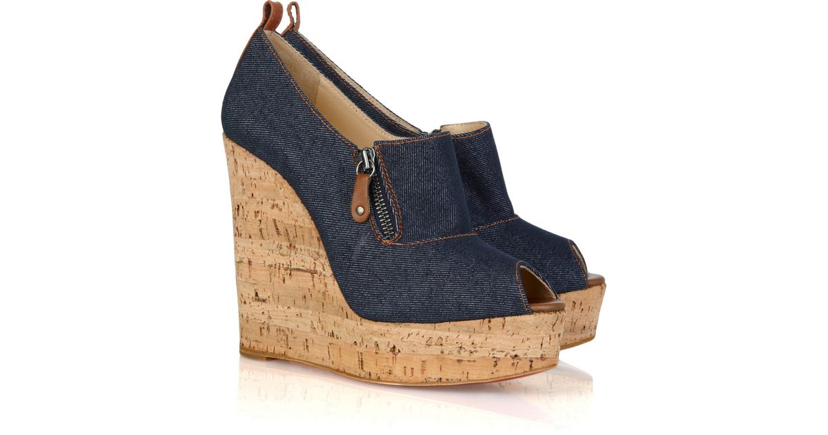 outlet store 9e495 b991c Christian Louboutin Blue Deroba 140 Denim Peep-toe Wedges