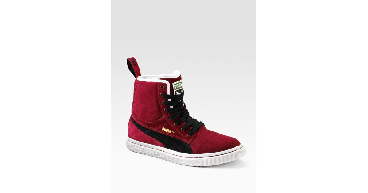 finest selection 6cab6 13958 PUMA Dr. Clyde Mashup Suede Boots in Red for Men - Lyst