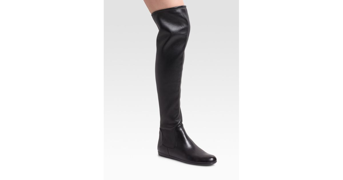 classic shoes official shop best sell Prada Black Over-the-knee Flat Boots