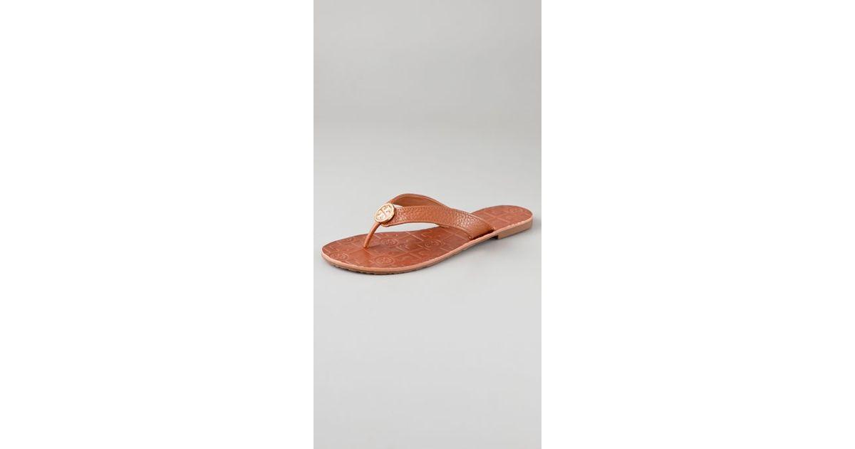 279b940b0b3a Lyst - Tory Burch Thora Flat Thong Sandals in Brown