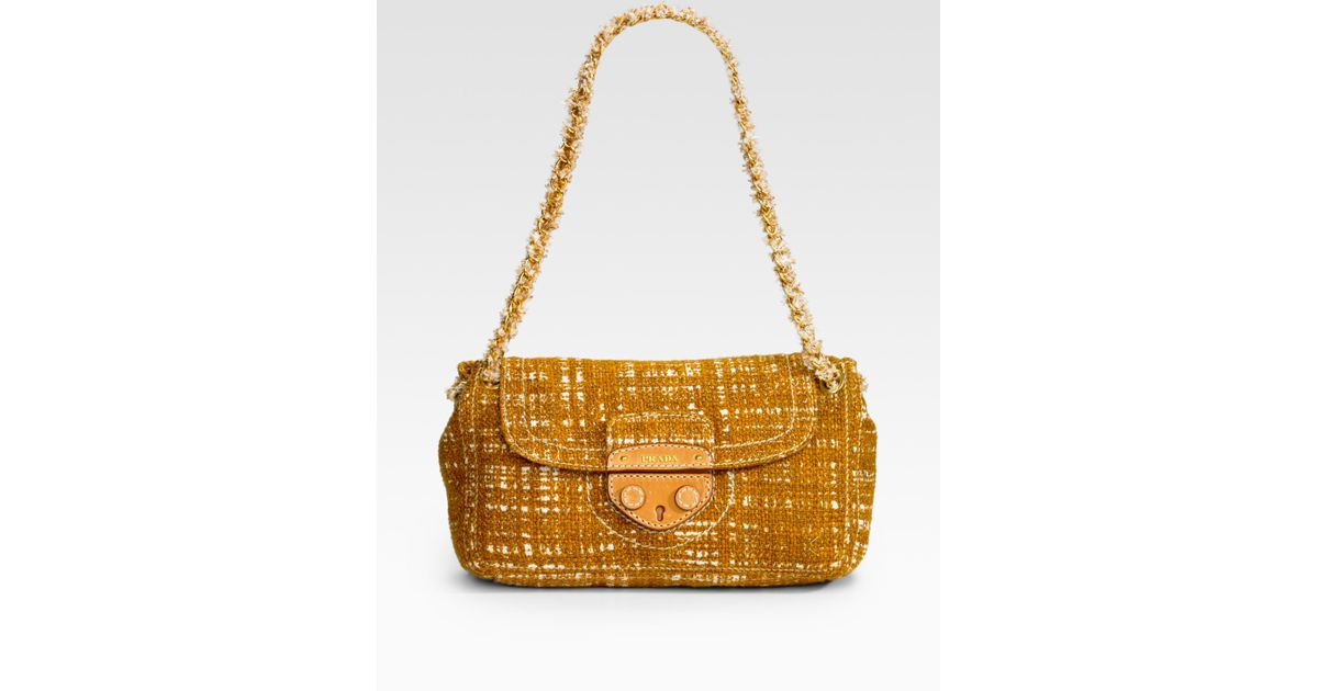 23ed23a7ba Lyst - Prada Tweed Shoulder Bag in Yellow