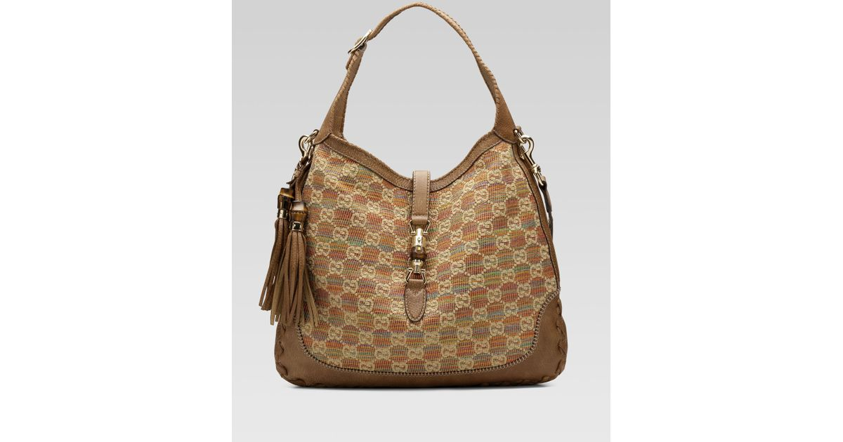 172a5c964 Gucci New Jackie Large Shoulder Bag in Natural - Lyst