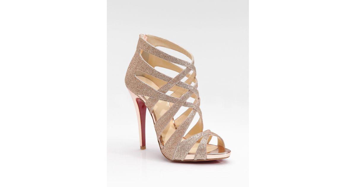 51e244dc0072 Lyst - Christian Louboutin Balota Glitter Leather Strappy Sandals in  Metallic