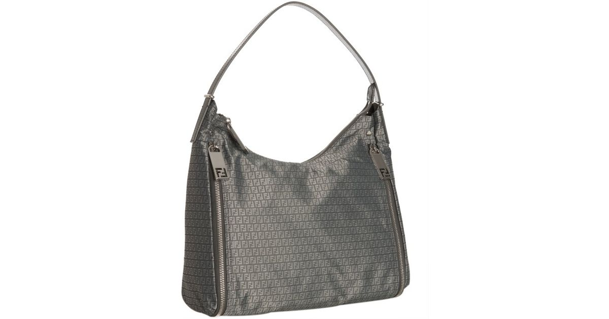 Fendi Grey Zucchino Nylon Zip Shoulder Bag in Gray - Lyst e373237146626