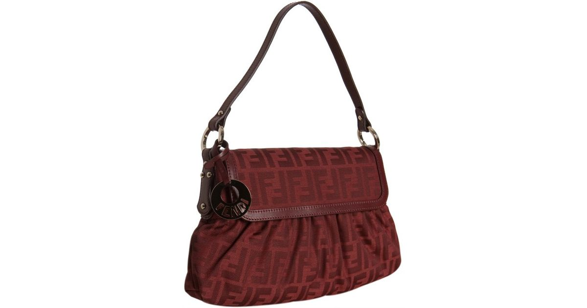 6fe2180a5441 ... new style lyst fendi red zucca canvas chef shoulder bag in red 34f9c  5e852