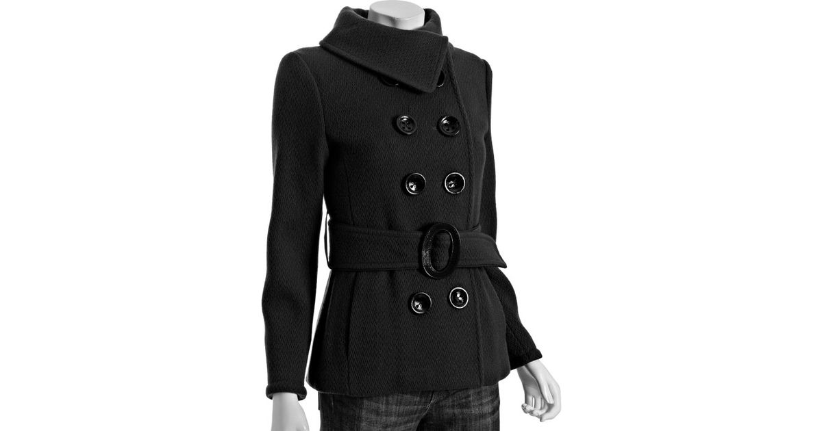 Soia & kyo Black Wool Anissa Short Belted Coat in Black | Lyst