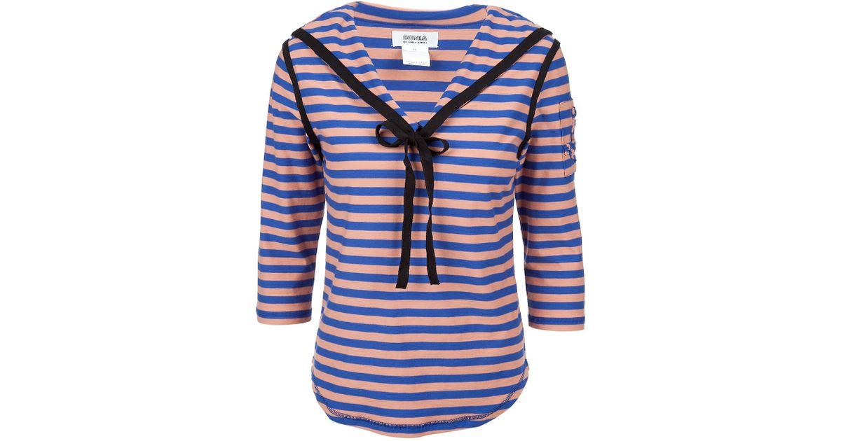 40fa524b73 Sonia by Sonia Rykiel Striped Sailor Top in Purple - Lyst