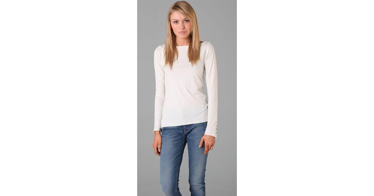 60c7d4917882ed Velvet by graham   spencer Carolyn Long Sleeve Tee in White