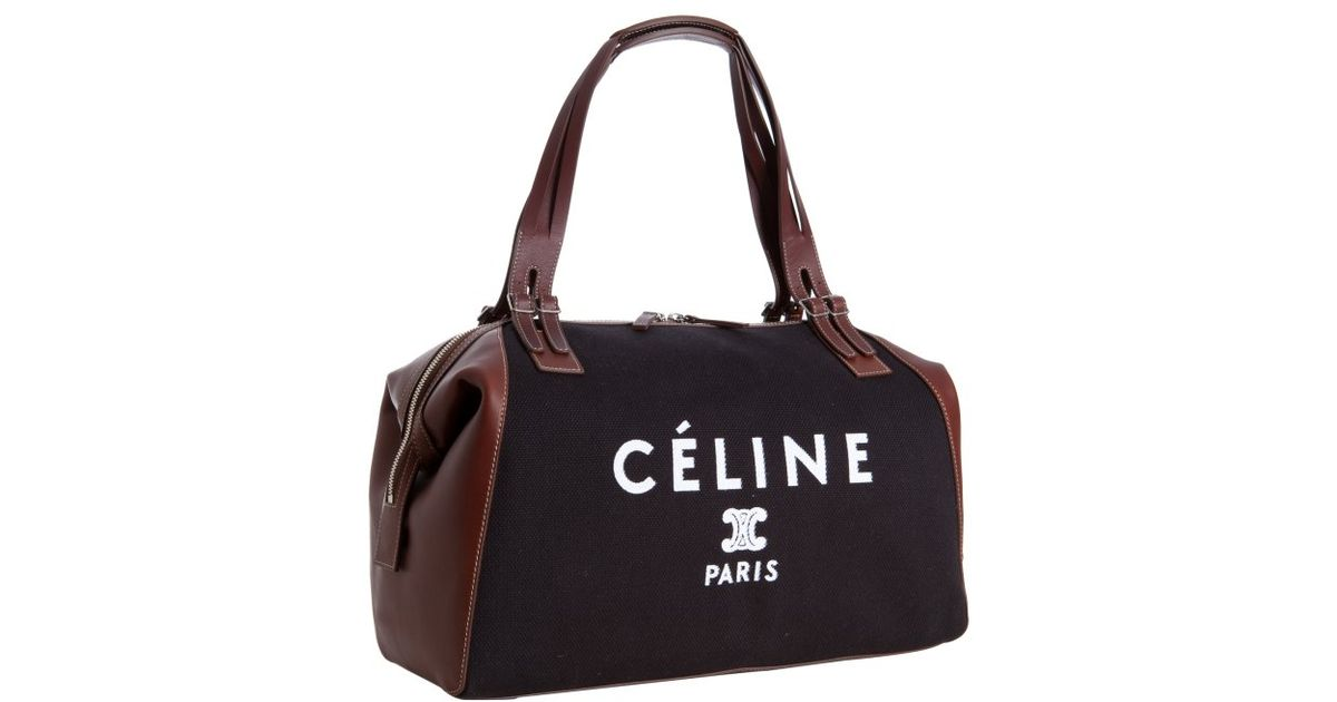 7efb89a5479b ... celine micro luggage tote bag - Celine Black Canvas and Leather Logo  Print Satchel in Black ...