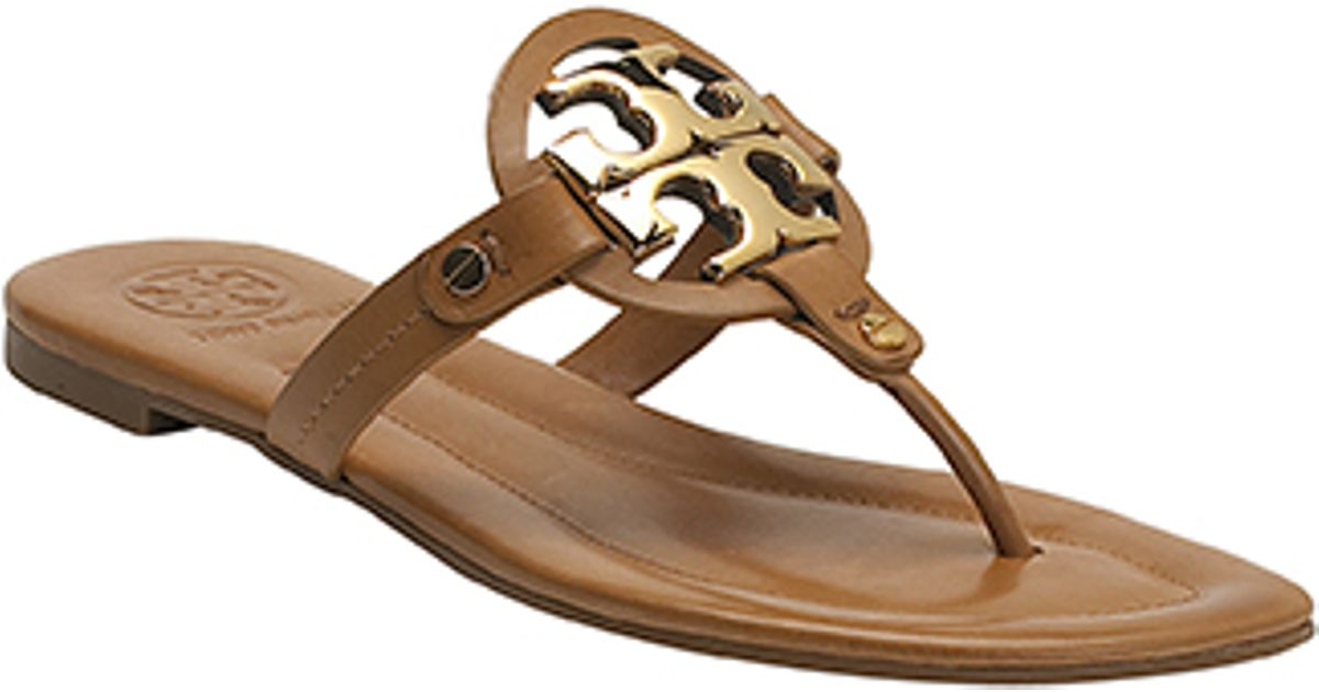 706824524f7a4d ... italy lyst tory burch miller 2 tan leather flat sandal in brown f01ec  015ce