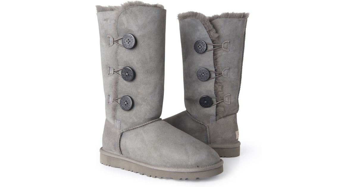 ugg bailey button triple boots grey in gray lyst