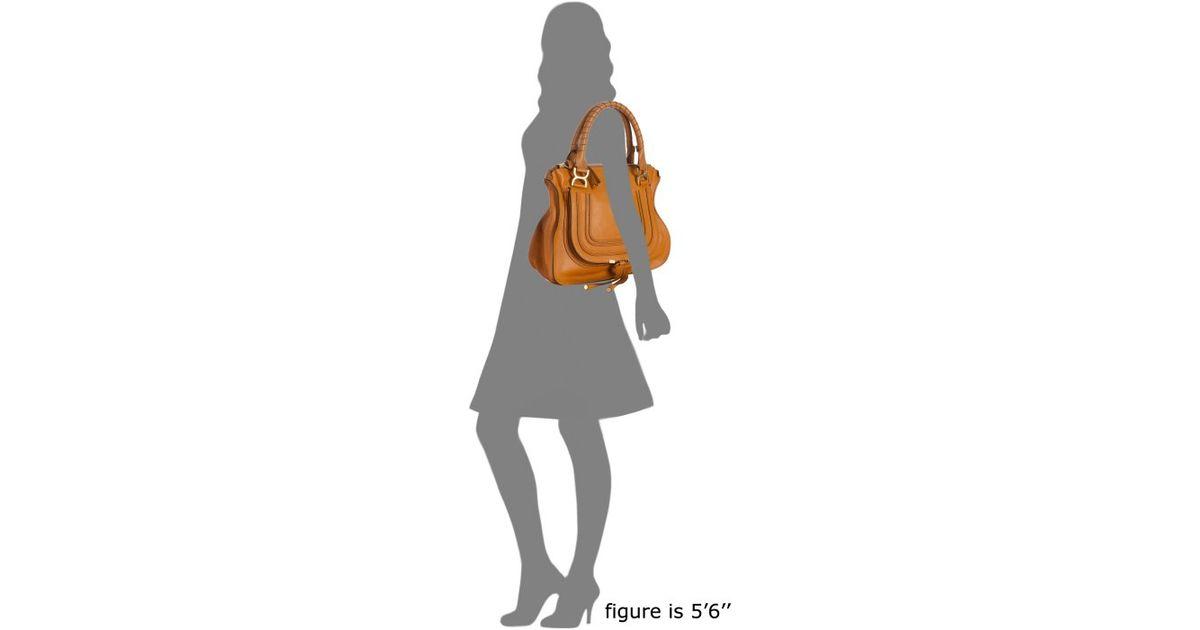Chlo�� Light Tan Calfskin Marcie Top Handle Bag in Brown (tan) | Lyst