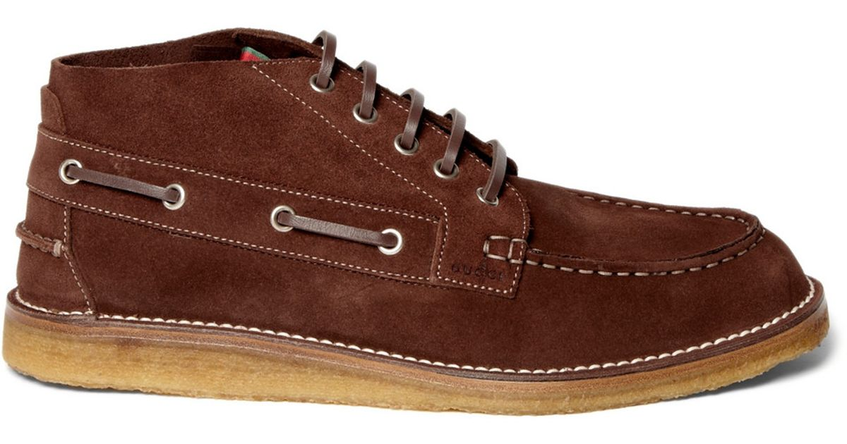4a8ee5ee413 Gucci - Brown Ankle-height Suede Boat Shoes for Men - Lyst