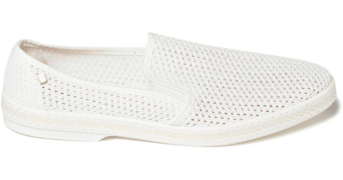 white mesh slip on sneakers