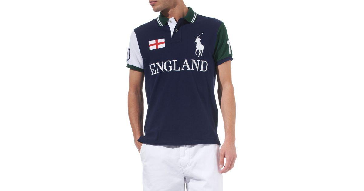 Ralph Polo Lauren Shirt England Custom–fit Flag Blue For Men fIY6g7yvb