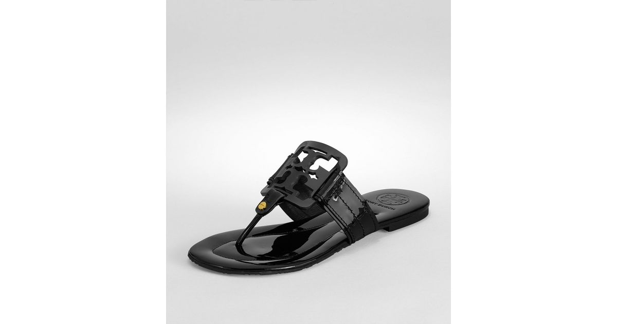 220def4dc26472 Lyst - Tory Burch Square Miller Patent Leather Thong Sandals in Black