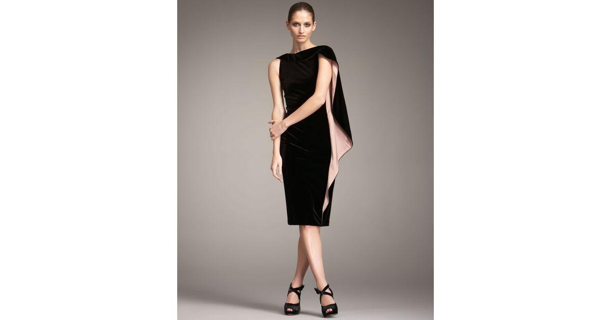bd6cc12b078 Giorgio Armani Cape Sleeve Velvet Dress in Black - Lyst
